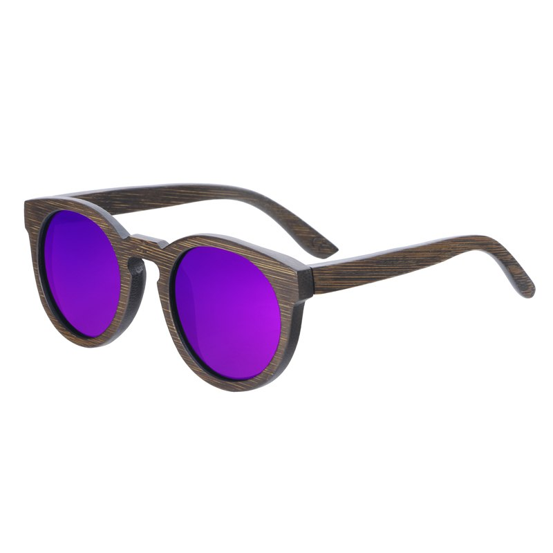Costbuys  Sun glasses for men and women polarized fashion wooden sunglasses high quality bamboo frame in stock - purple lens