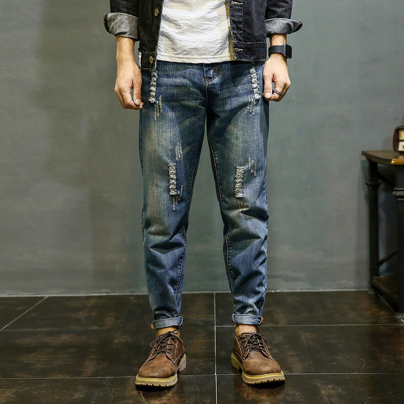 Best Men Biker Jeans Cowboy Pants Pantalon Hip Hop Jeans Broken