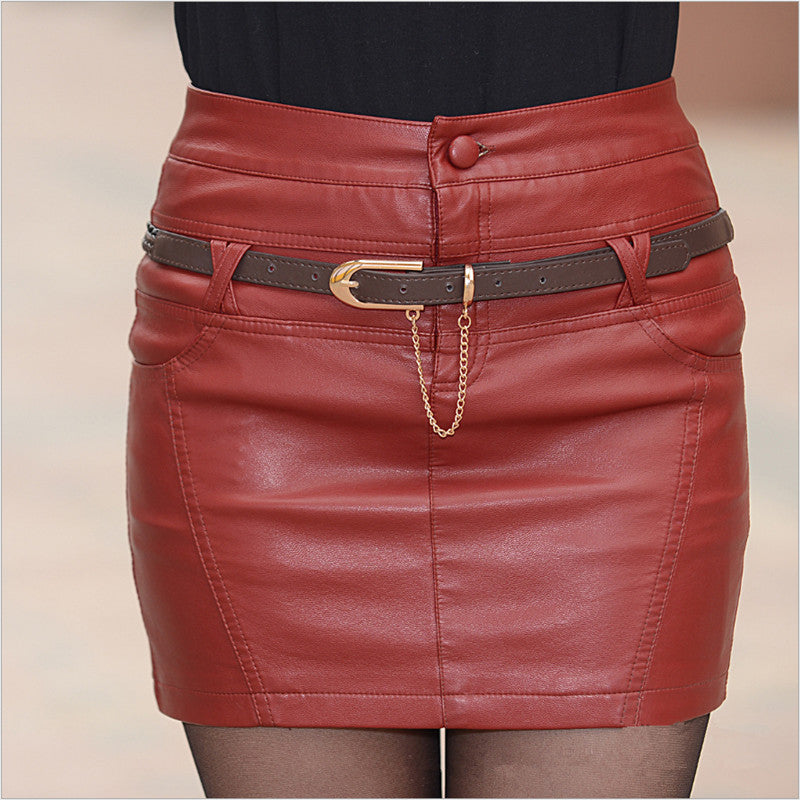 Costbuys  Black/ Red S-3XL Brand Women PU Leather Skirts Fashion Slim Package Hip Motorcycle Leather Women's Skirt - red / S