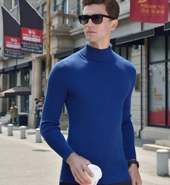 Costbuys  Black Wool Turtleneck Sweater Men Slim Fit Solid Men Knit Cashmere Pullovers And Sweaters For Men Plus Size 3XL Sueter