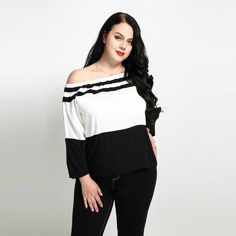 Women Plus Size Off Shoulder Blouses And Shirt Casual Ladies Tops