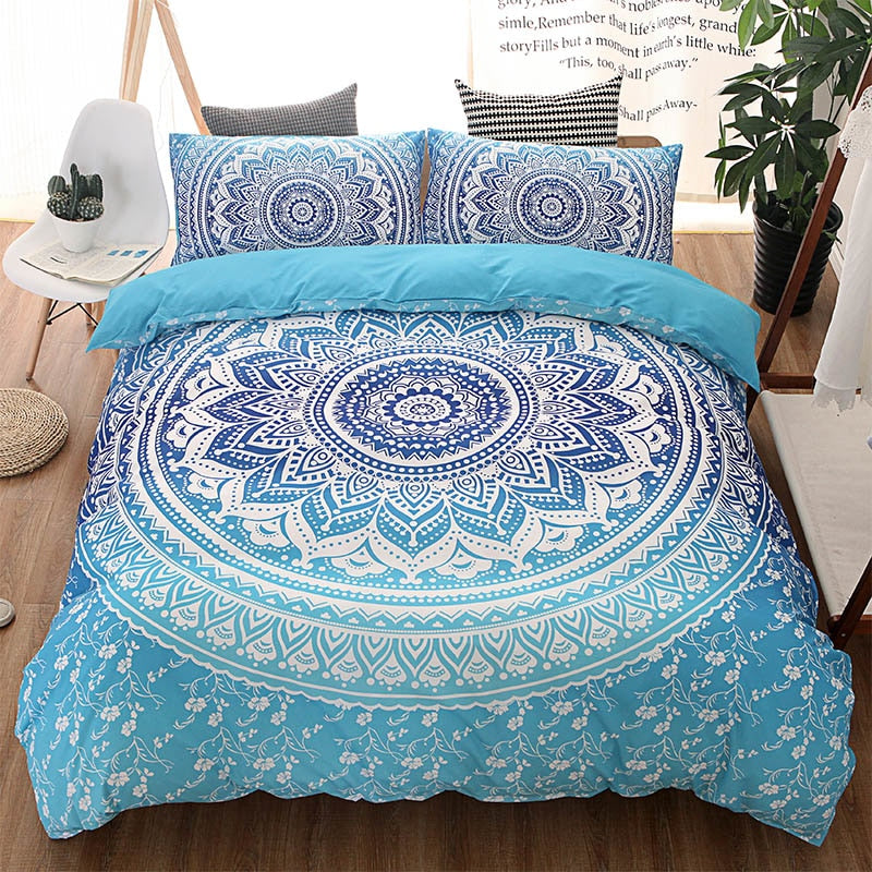 Costbuys  Blue Bohemian Queen Comforter Set Mandala King Twin Size 3D Bedding Set Luxury Bed Quilt Cover Duvet Cover Double Shee