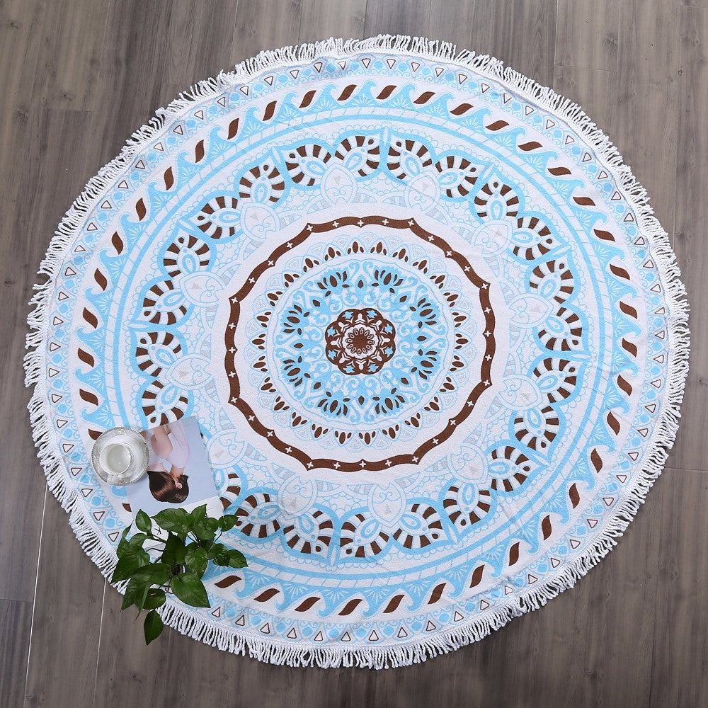Costbuys  Blue Mandala Round Cotton Beach Towels Extra Large Thick Terry Cloth Oversized Microfiber Beach Towel Blanket Yoga Mat