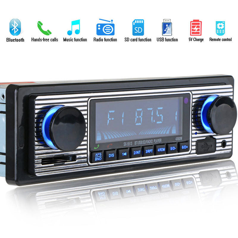 Costbuys  Bluetooth Vintage Car Radio MP3 Player Stereo USB AUX Classic Car Stereo Audio - Black / Other