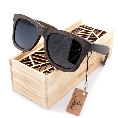 Costbuys  Men's Retro Wooden Bamboo Sunglasses Square Piltor Summer Style Luxulry Design Polaroid Sun Glasses in Gift Box - Grey