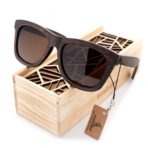 Costbuys  Men's Retro Wooden Bamboo Sunglasses Square Piltor Summer Style Luxulry Design Polaroid Sun Glasses in Gift Box - Brow