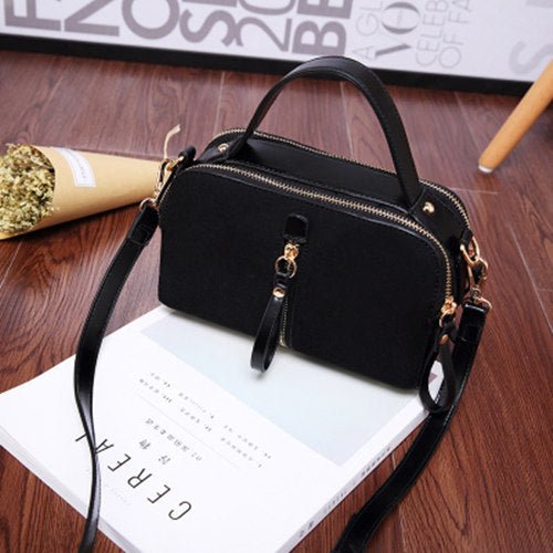 Costbuys  New Korean Ladies Fashion Bags Vintage PU Leather Women Handbag Small Shoulder Bag Crossbody Bag - black
