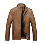 Men Winter Leather Jacket Fashion Casual Motorcycle PU Faux Leather Fleece Lined Warm Male Jackets Coat Outerwear
