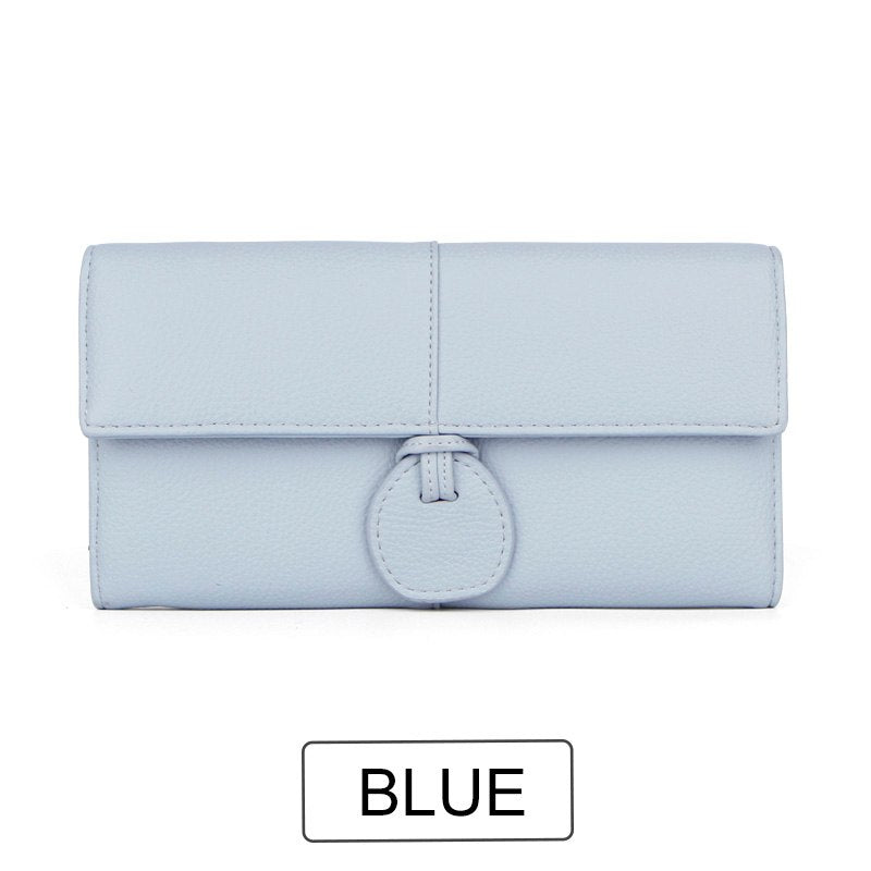 Costbuys  Design Large Capacity Card Wallets Female Soft Leather Long Clutch Wallets For Women Fashion Ladies Purse NEW - Blue
