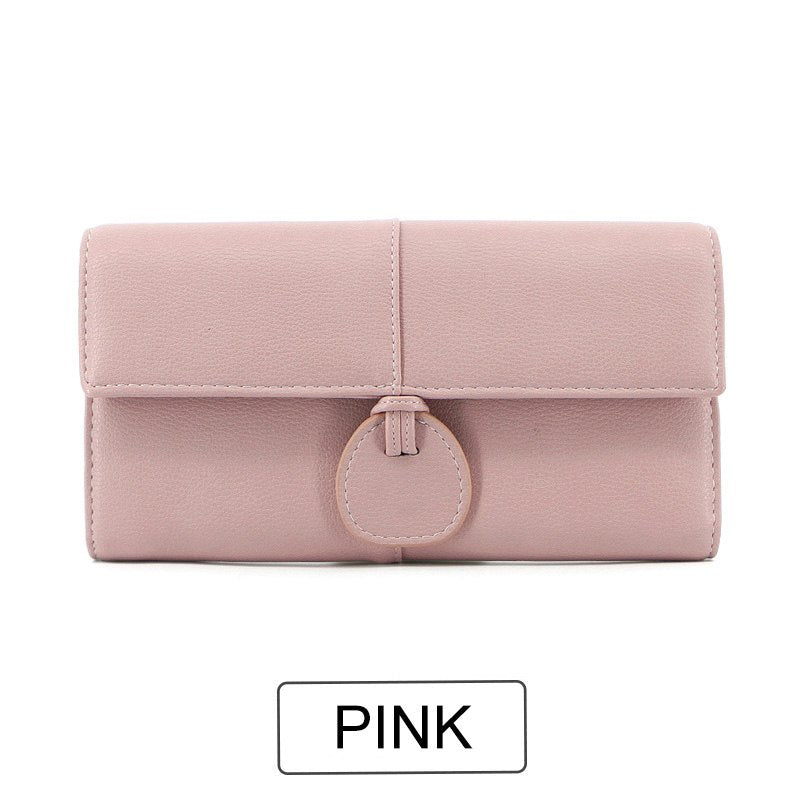 Costbuys  Design Large Capacity Card Wallets Female Soft Leather Long Clutch Wallets For Women Fashion Ladies Purse NEW - Pink