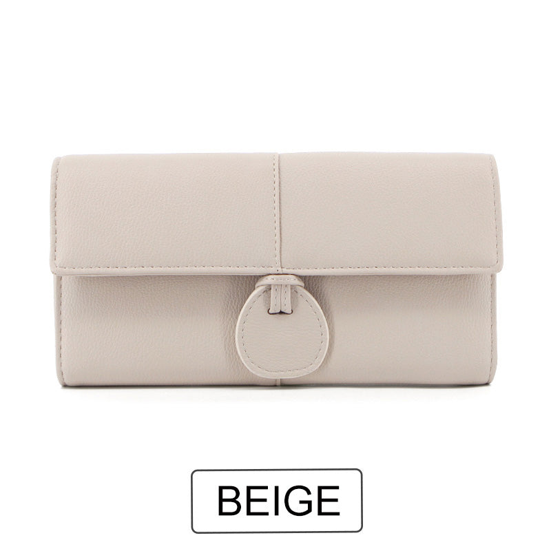 Costbuys  Design Large Capacity Card Wallets Female Soft Leather Long Clutch Wallets For Women Fashion Ladies Purse NEW - Beige