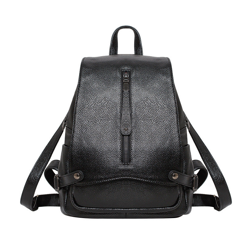 Genuine leather Backpack Women Leisure fashion black blue girls leather female backpack