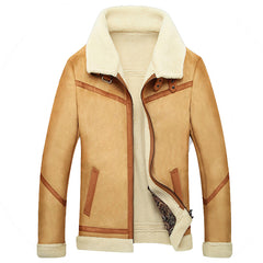 Winter Fur Coat Fashion Thick Warm Leather Jacket Fleece Lined Velvet Pilot Jacket Outwear Male Clothing