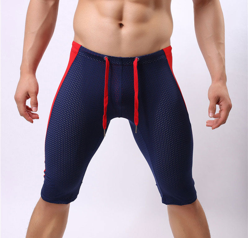 Costbuys  Sexy Men's Workout Tights Elastic G-ym Fitness Shorts Low waist For Beach Riding Quick-drying - Dark Blue / S