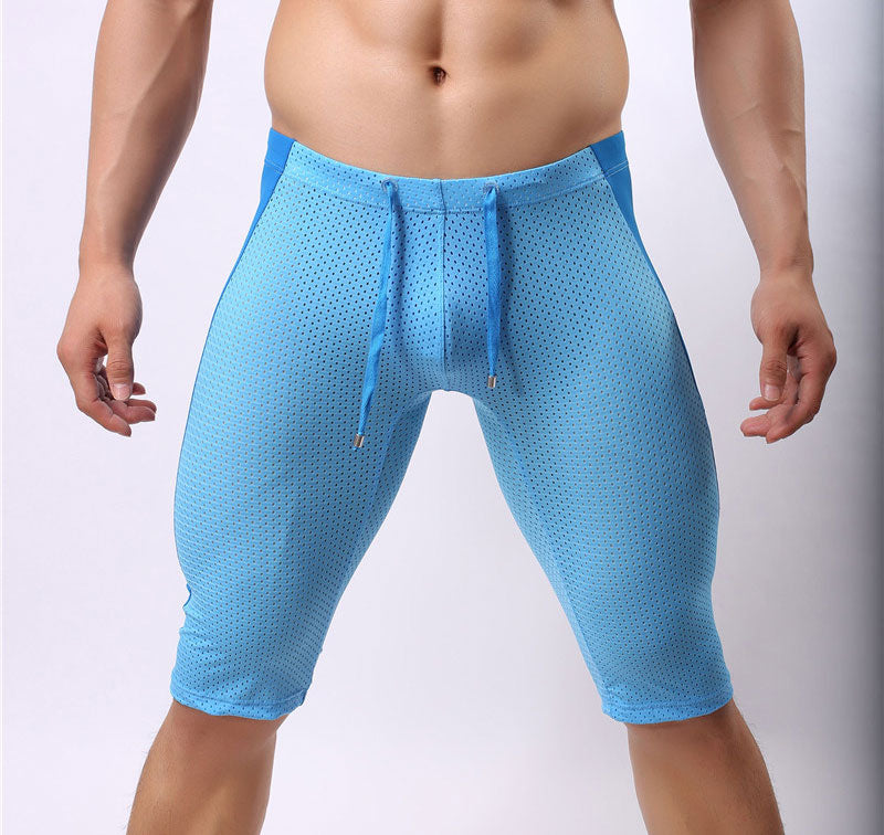 Costbuys  Sexy Men's Workout Tights Elastic G-ym Fitness Shorts Low waist For Beach Riding Quick-drying - Blue / S