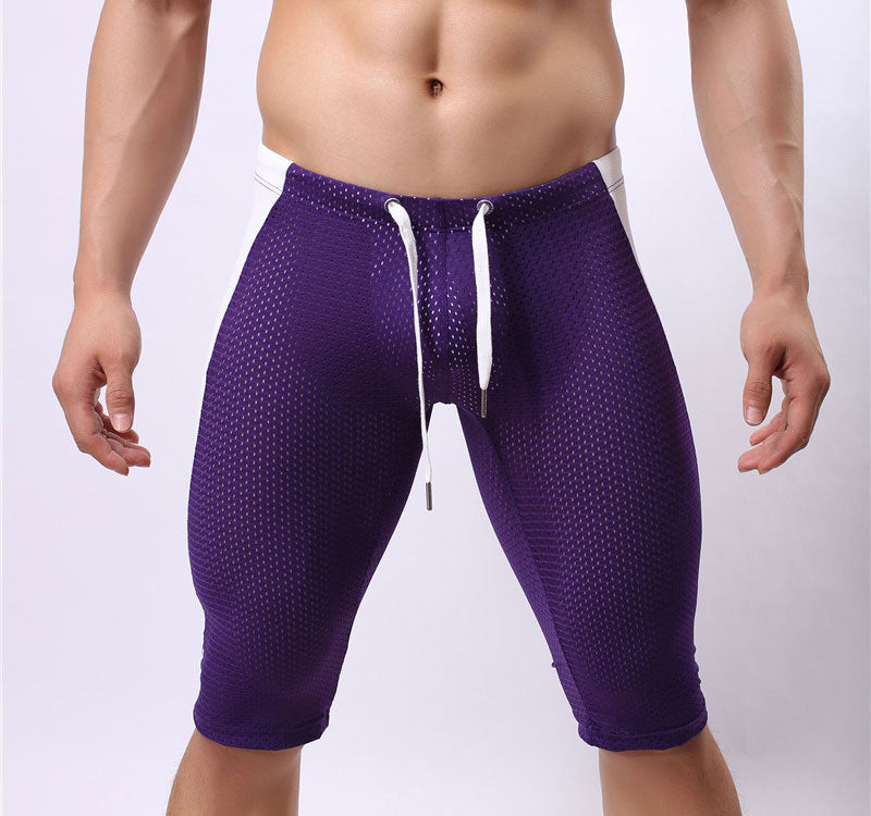 Costbuys  Sexy Men's Workout Tights Elastic G-ym Fitness Shorts Low waist For Beach Riding Quick-drying - Purple / S