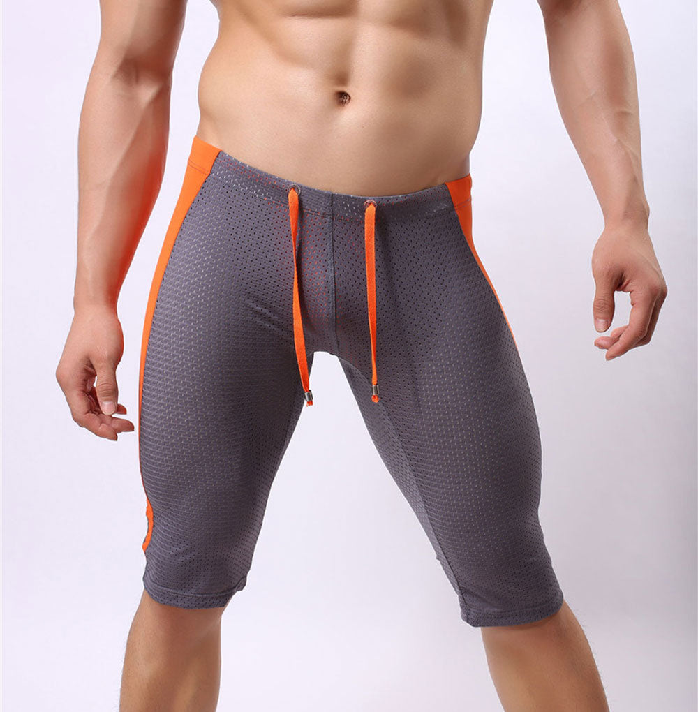 Costbuys  Sexy Men's Workout Tights Elastic G-ym Fitness Shorts Low waist For Beach Riding Quick-drying - Gray / S
