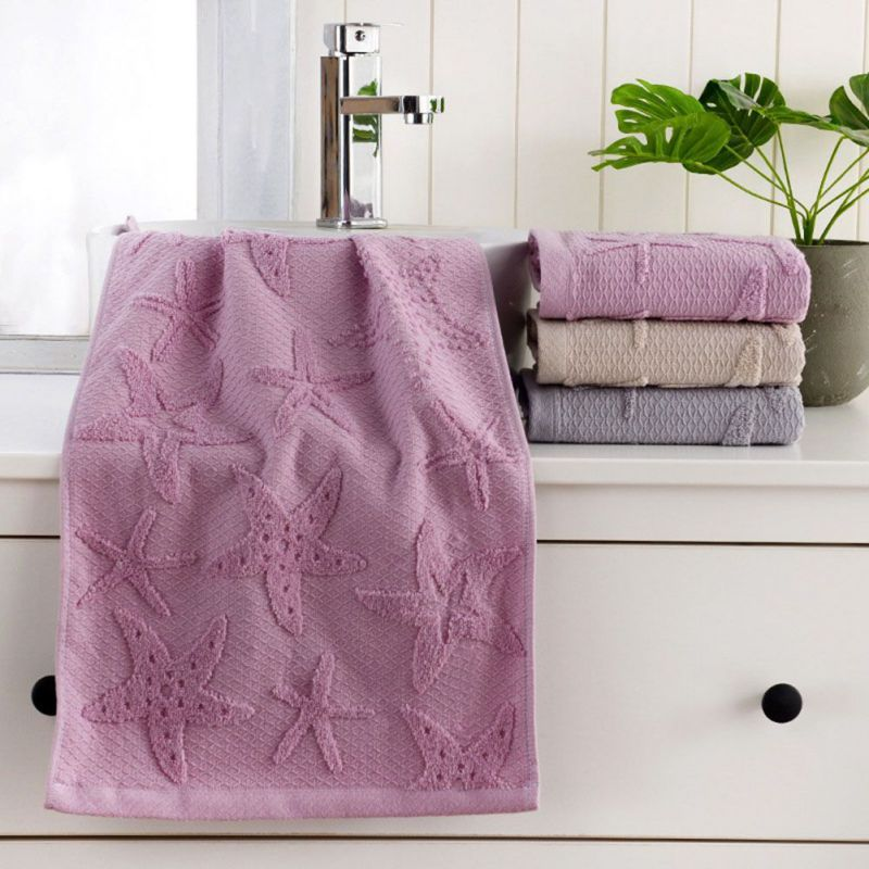 Costbuys  Face Towel Starfish Leaves Pattern Absorbent Towel for Bathroom and Gym Soft Face Towels Bath Products 2Pcs - Purple(S