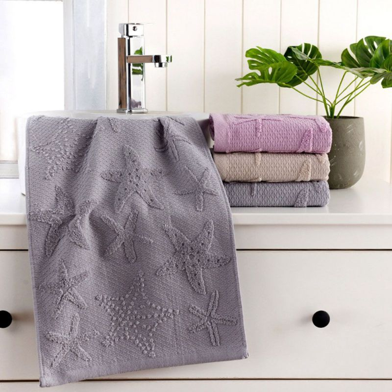 Costbuys  Face Towel Starfish Leaves Pattern Absorbent Towel for Bathroom and Gym Soft Face Towels Bath Products 2Pcs - Grey(Sta