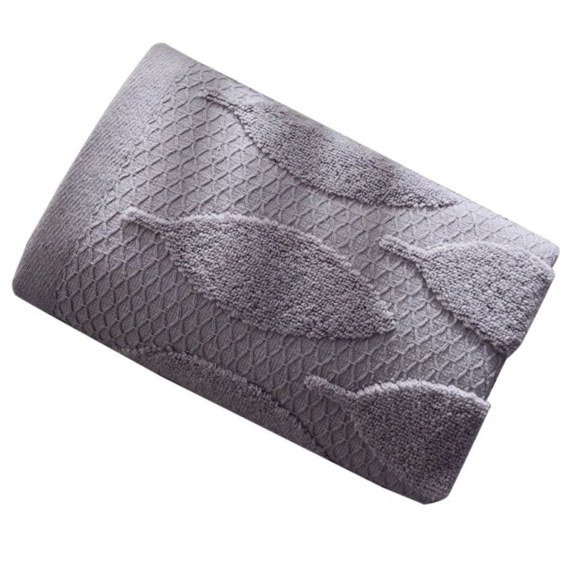 Costbuys  Face Towel Starfish Leaves Pattern Absorbent Towel for Bathroom and Gym Soft Face Towels Bath Products 2Pcs - Grey(Lea