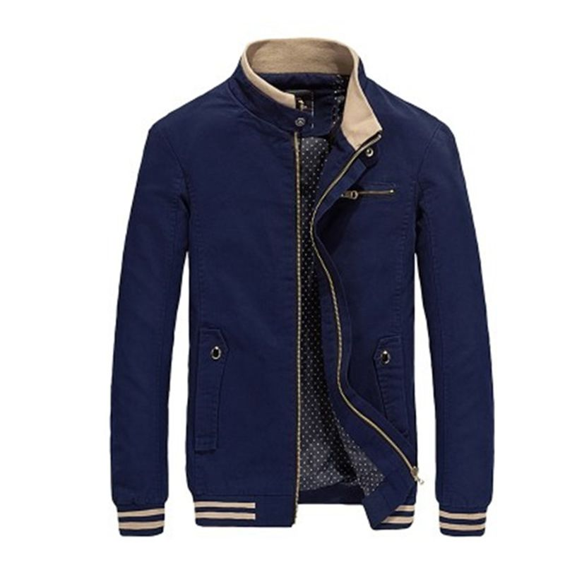 Autumn Men Casual Jacket Coat Mens Fashion Washed 100% Cotton Jackets Male Coats Zipper Sales