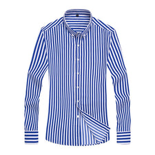 Button-down Collar Non-Iron Striped Shirts Mens Clothes 2018 Long Sleeve Mens Dress Shirts Casual Slim fit Men Social Shirt