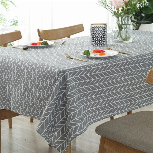 Costbuys  Grey Arrow Printed Geometric Tablecloth Simple Modern Hotel table cloth cotton Linen fabric Table Cover for Kitchen -