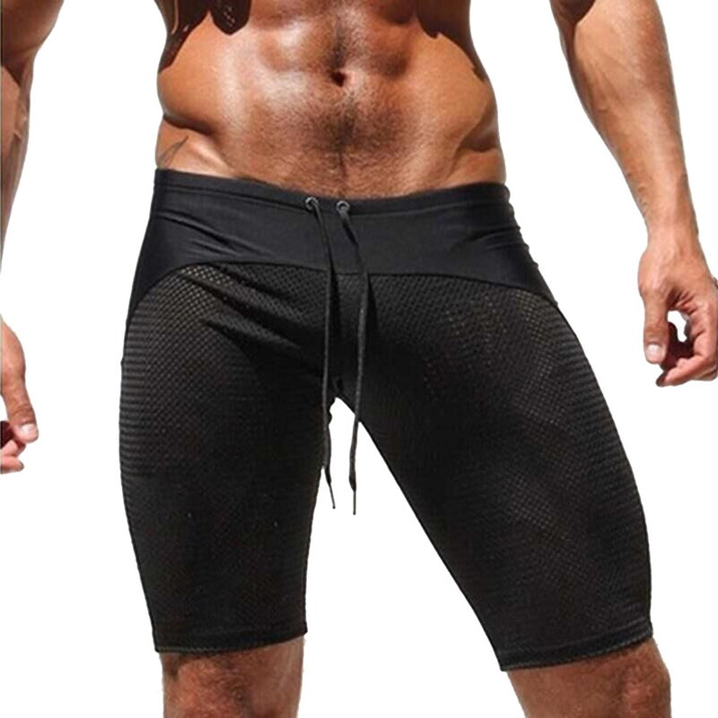 Costbuys  Summer Beach Swimwear Men Swim Shorts Board Shorts Swimming Trunks Bermuda Surf Short Sport Swimsuit Quick Dry - Black