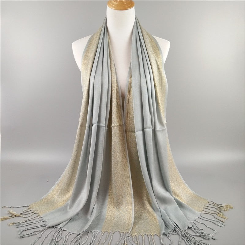 Wraps Cotton Voile Gold Thread Shawl Long Tassel Shining Muslin Scarves