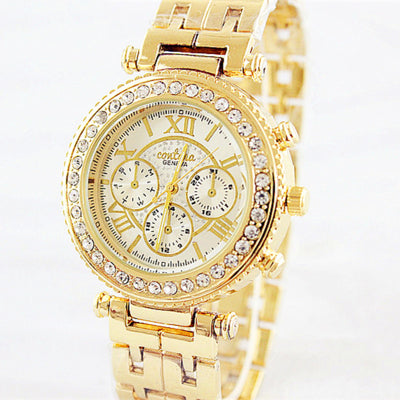 Costbuys  Fashion Rose Gold Bracelet Watch Women Watches Luxury Rhinestone Full Steel Quartz Watch Hour relogio feminino - gold