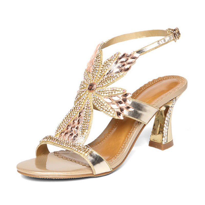 Costbuys  Leather Women Sandals Pumps Summer Rhinestone High Heel Women Wedding Pumps Shoes sexy crystal open-toe sandals - Gold