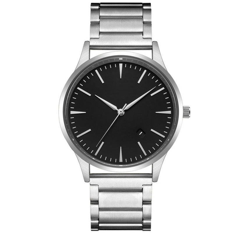 Costbuys  Steel Strap Men Quartz Watch Fashion Men's Watches With Calendar Business Style Wristwatch Simple Dial Jewelry For Men