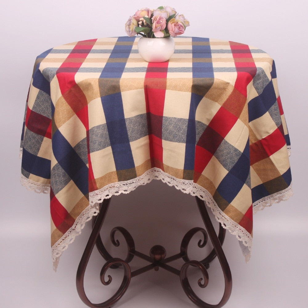 Costbuys  Mediterranean Style Linen Cotton Plaid Table Cloth Rectangular for Dinning Tables / Square Table Cover for Round Table