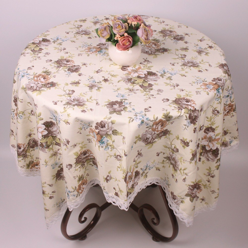 Costbuys  Summer Light Yellow Cotton Table Cloth Roses Table Covers for Coffee Tea Tables Restaurant Hotel Decorative Tablecloth