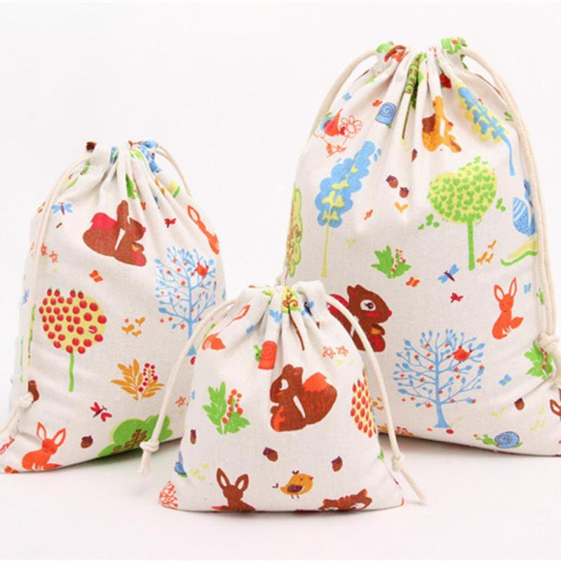 Costbuys  Canvas Travel Drawstring Tote Storage Bag Printing Sports Backpack Tea Candy Snack Food Organizer Toys Shoes Cosmetic
