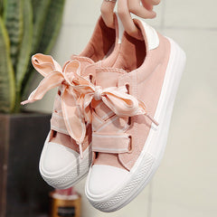 Canvas shoes for girls solid designer casual female sneakers lace-up non-slip superstar style woman shoes spring