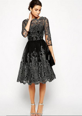 Dangal Party Dress Party Lace Midi Dress Black Sleeve Night Dresses Women Party Night