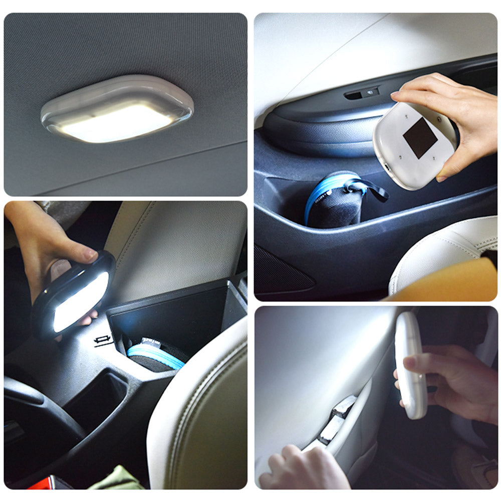Costbuys  Car Accessories Car Reading Light USB Charging Car Interior Roof Magnet Indoor Ceiling Lamps - Beige OutWhite Light