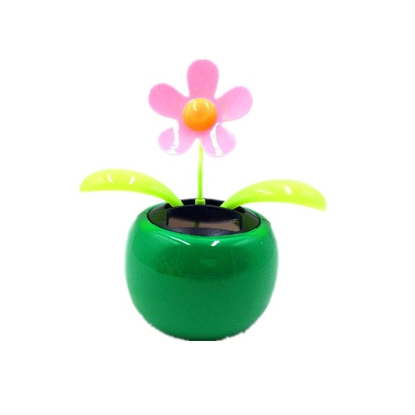 Costbuys  Car Interior Decoration Styling Solar Power Dancing Flower ABS resin Flowerpot Flip Flap Plant Swing Flower Toy home d