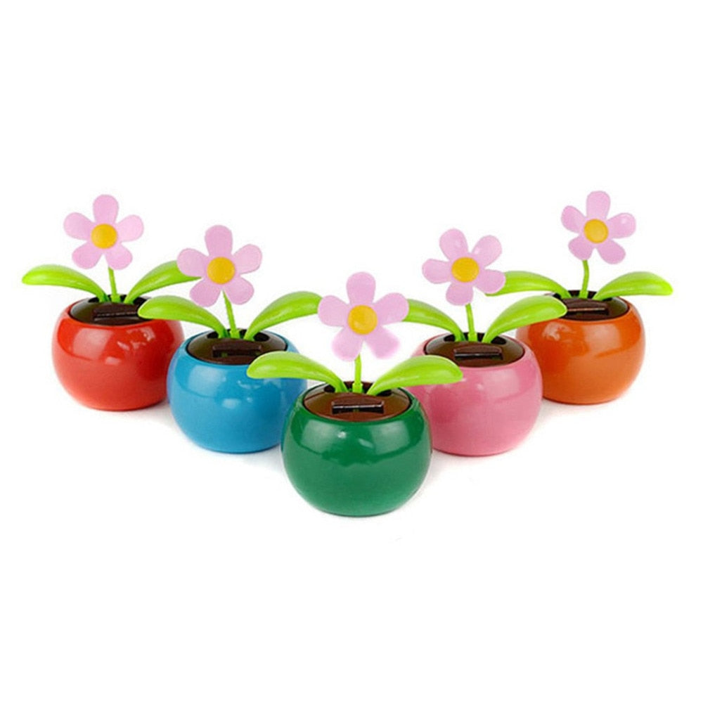 Costbuys  Car Ornament Cute Solar Powered Dancing Flower Automotive Decoration Auto Interior Dashboard Toys Accessories Gift - C