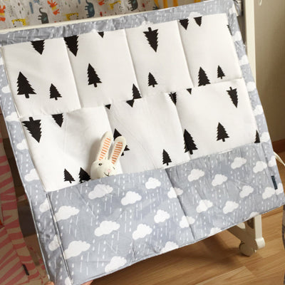 Costbuys  Cartoon Baby Bed Hanging Storage Bag Muslin Tree Cotton Infant Crib Organizer Toy Diaper Pocket for Baby Bedding Set A
