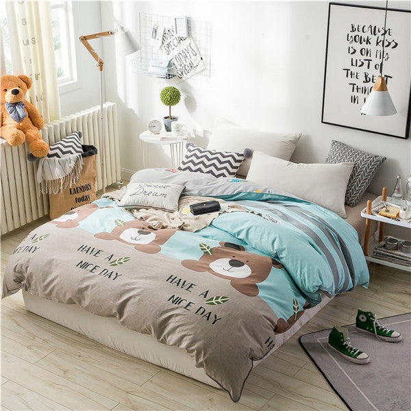 Costbuys  Cartoon Brown Bear Pattern Cotton  Bedding Sets Duvet Covers Sets Bedspreads Comforter Sets Bed Sets Pillowcase 220x24