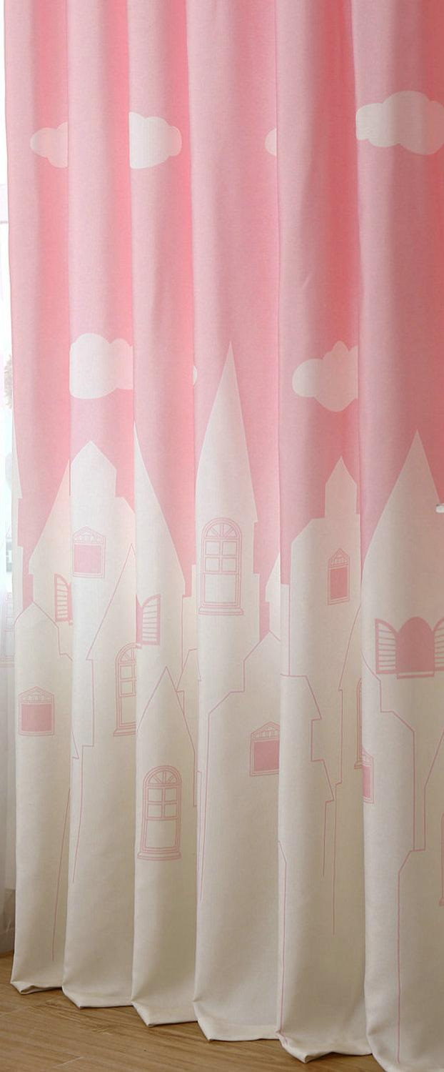 Costbuys  Cartoon Castle White Clouds Window Curtains for Kids Cartoon Curtains for Children ' Bedroom Living Roon Kitchen Pink