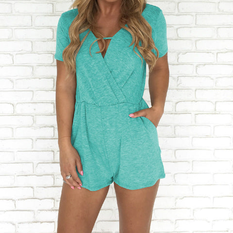 Summer New Arrival Regular Casual Fashion V-Neck Sexy Rompers Womens Jumpsuit for Women 6 Colors Jumpsuit