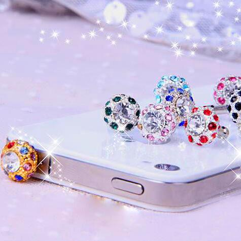 Costbuys  Cell Phone Accessories Bling Diamond 3.5mm Jack Anti Dust Plug for Samsung Galaxy S6 S5 Plugs Earphone Accessory Dustp