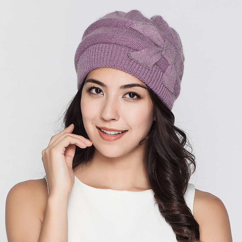 Costbuys  Women Knitted Hats Winter Thicken Double Layer Elegant Casual Rabbit Hair Blend Women's Hat Female Beanies - purple