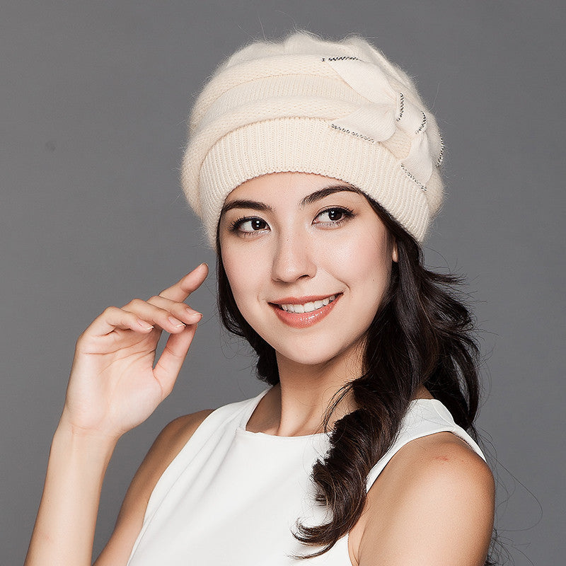 Costbuys  Women Knitted Hats Winter Thicken Double Layer Elegant Casual Rabbit Hair Blend Women's Hat Female Beanies - beige