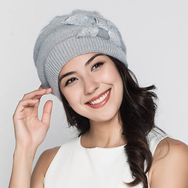 Costbuys  Women Knitted Hats Winter Thicken Double Layer Elegant Casual Rabbit Hair Blend Women's Hat Female Beanies - grey