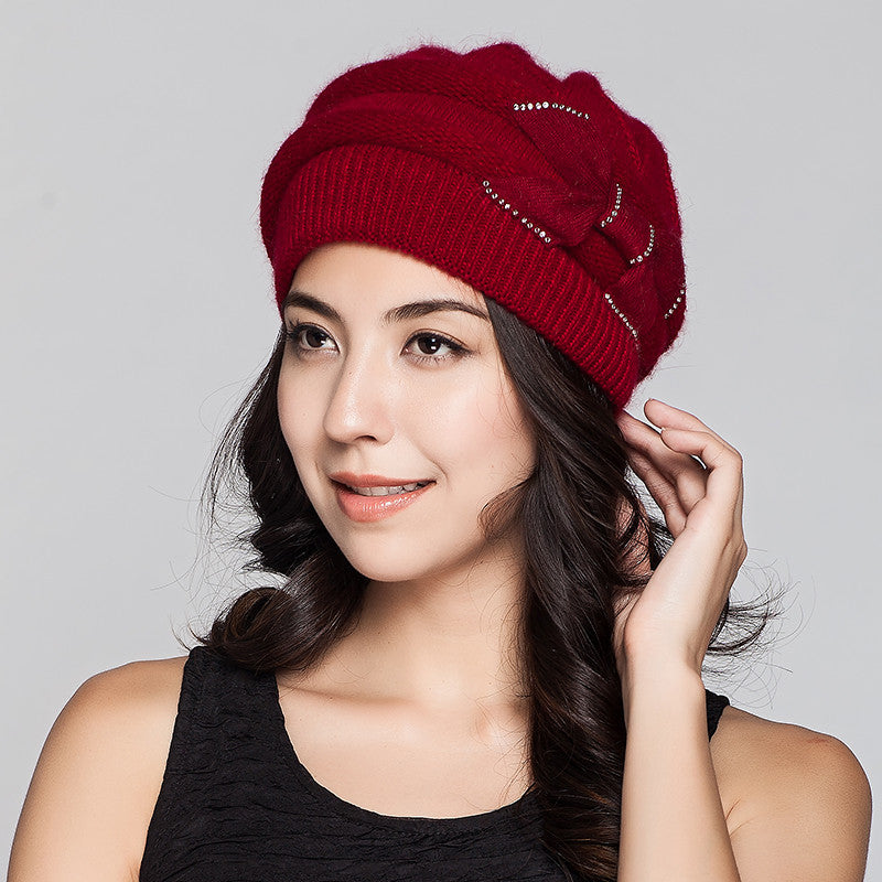 Costbuys  Women Knitted Hats Winter Thicken Double Layer Elegant Casual Rabbit Hair Blend Women's Hat Female Beanies - wine red