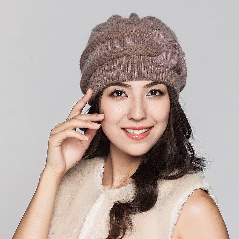 Costbuys  Women Knitted Hats Winter Thicken Double Layer Elegant Casual Rabbit Hair Blend Women's Hat Female Beanies - coffee